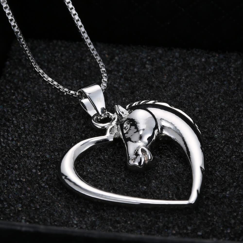 Silver horse in heart necklace good day things silver horse in heart necklace mozeypictures Gallery