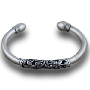 Primrose Luxury Bangle in 990 Pure Silver - LifeIsNowEmporium