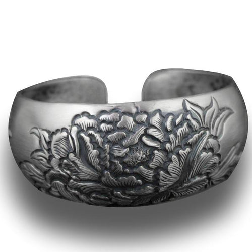 Peony Luxury Flower Bangle in 990 Pure Silver - LifeIsNowEmporium