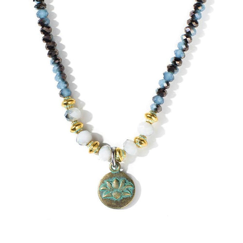 Multicoloured Crystal Beads Lotus Flower Necklace - LifeIsNowEmporium