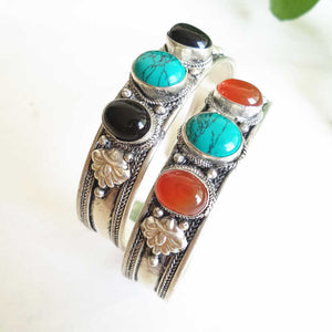 Bohemian Nights Bangle with Turquoise and Agate in Rose Copper - LifeIsNowEmporium