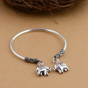Open Bangle with Elephant Charms in 925 Silver - LifeIsNowEmporium