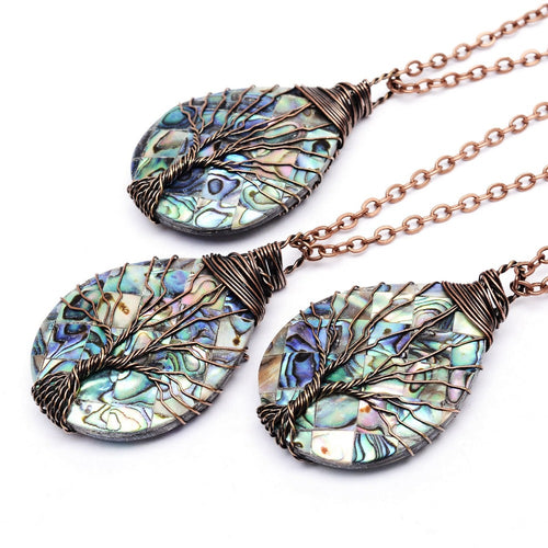 Handmade Tree of Life Pendant in Copper and Abalone - LifeIsNowEmporium