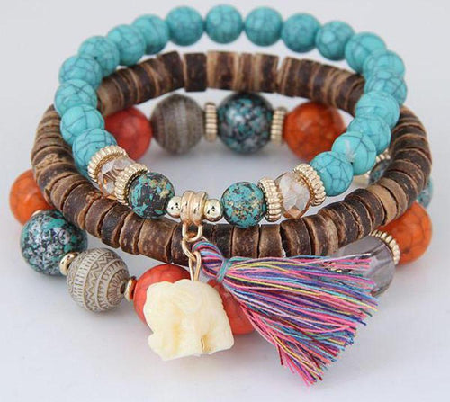 Boho Elephant and Tassel Bracelet Set [4 variants] - LifeIsNowEmporium