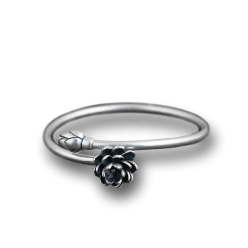Lotus Flower Open Luxury Bangle in 990 Pure Silver - LifeIsNowEmporium