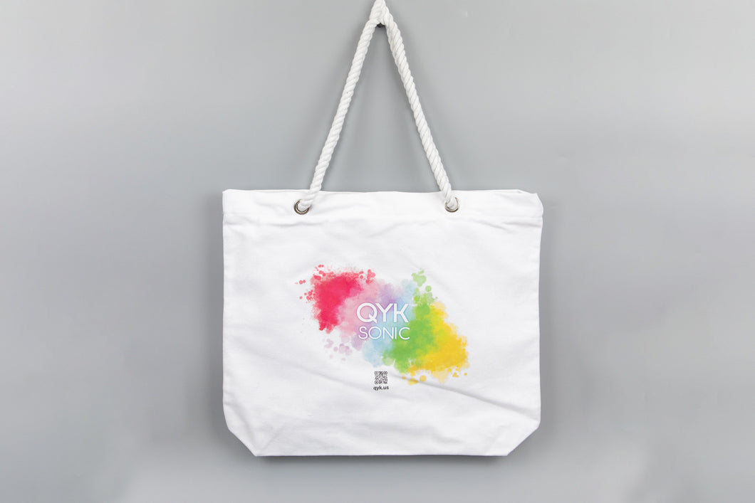 QYKSONIC - Signature Canvas Tote Bag with Rope Handles