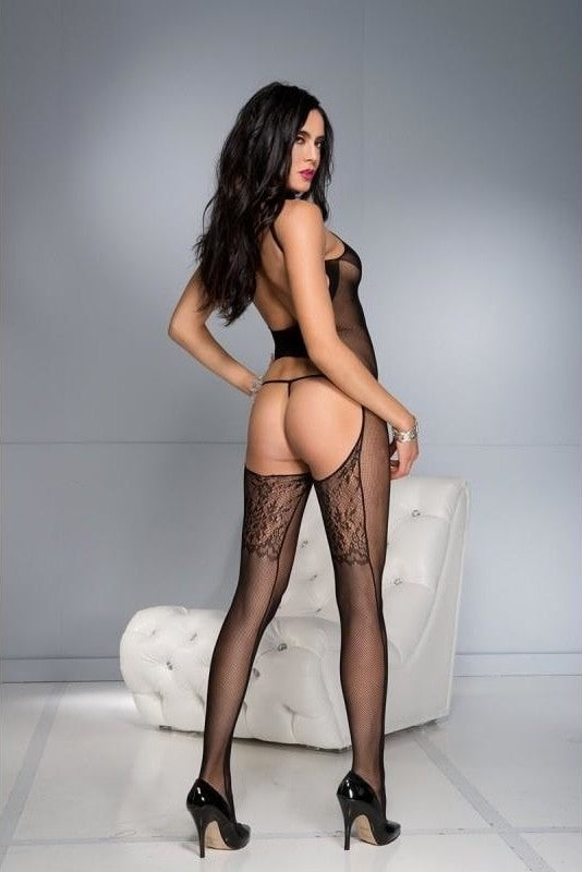 Belly Cut Out Bodystocking - 2