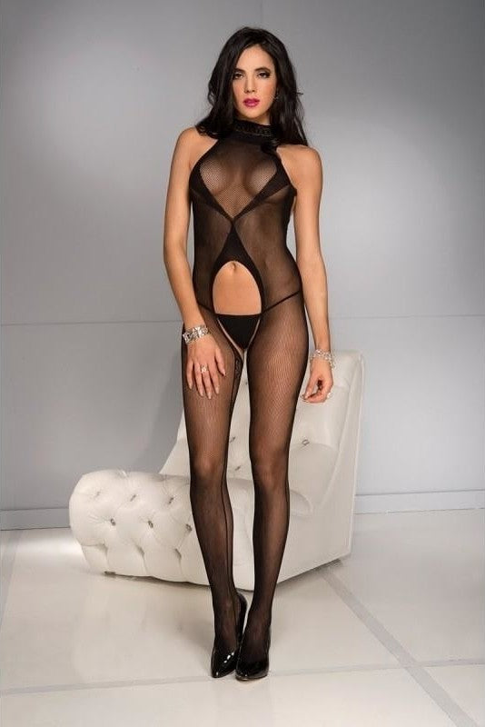 Belly Cut Out Bodystocking - One Size / Black