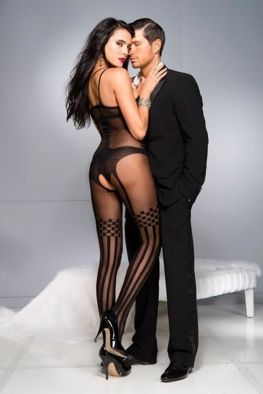 Crotchless Bodystocking With Stockings Design - 2