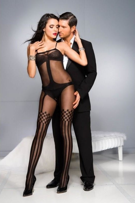 Crotchless Bodystocking With Stockings Design - One Size / Black