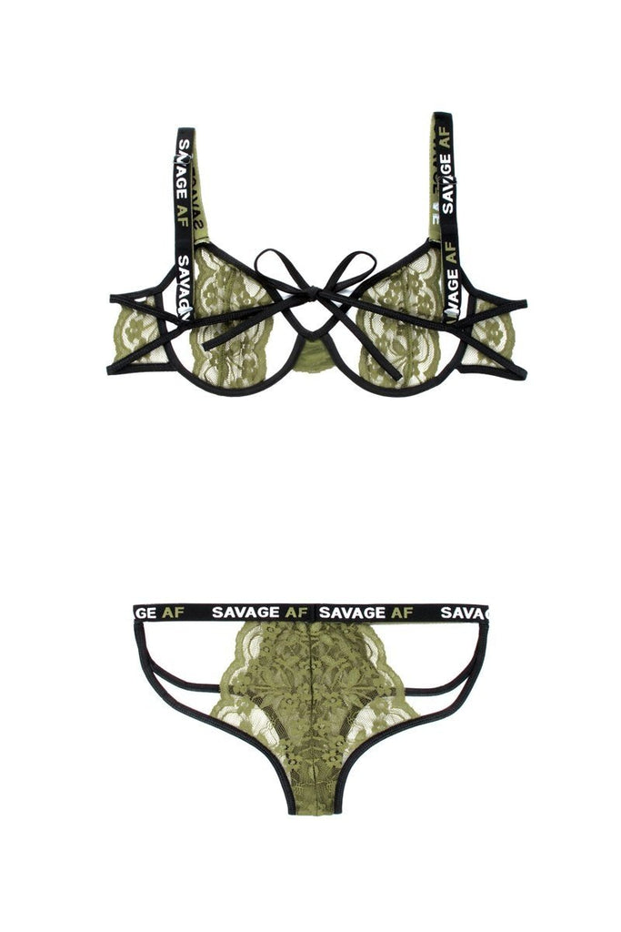 Bra set with open cups Black / Green