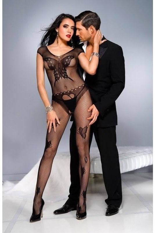 Fishnet Catsuit With Butterfly Design-Black - One Size / Black
