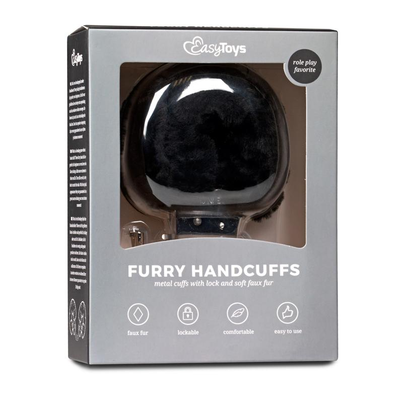 Easytoys Fetish Collection Metallic Handcuffs with Plush Upholstery 4