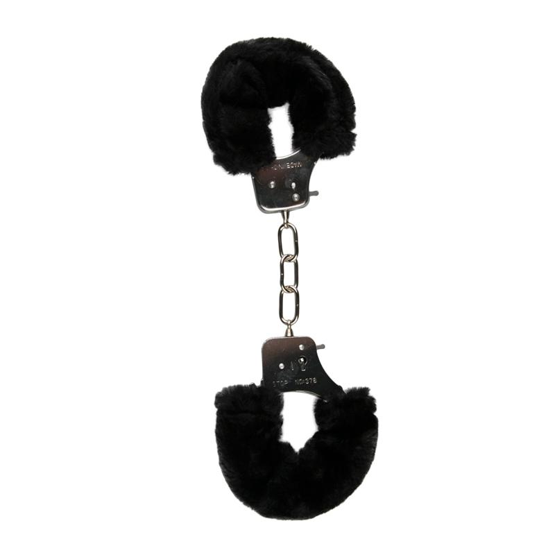 Easytoys Fetish Collection Metallic Handcuffs with Plush Upholstery Black 3