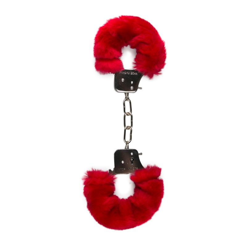 Easytoys Fetish Collection Metallic Handcuffs with Plush Upholstery Red 5