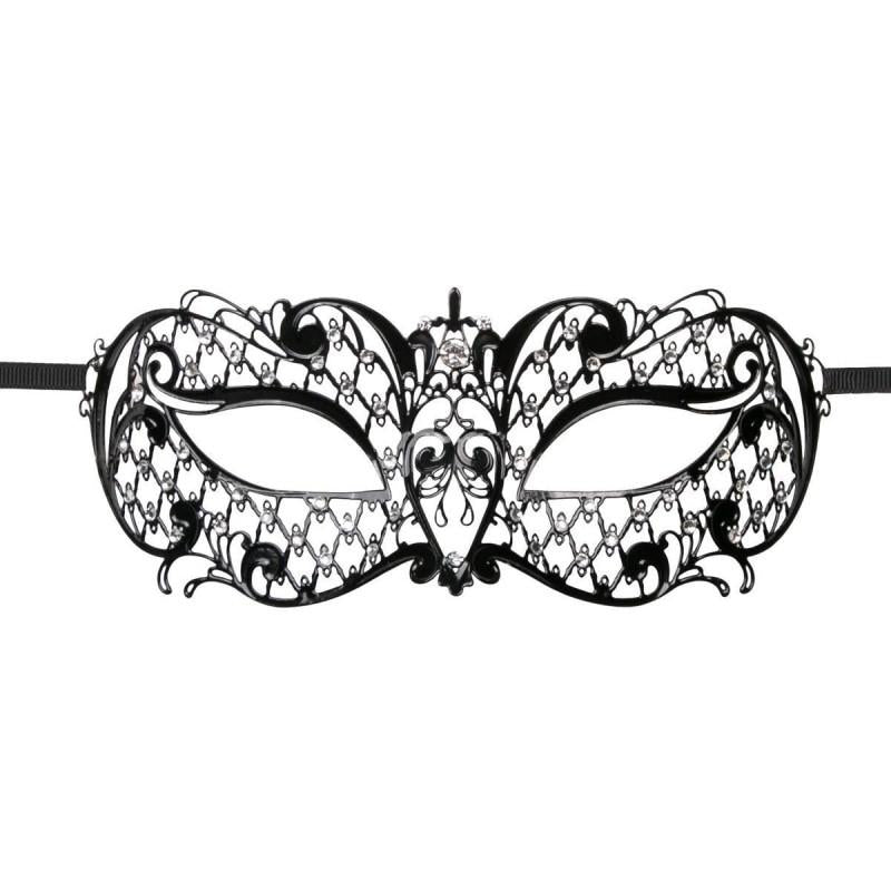 Metal Mask Decorated with Rhinestones - Black - One Size / Black