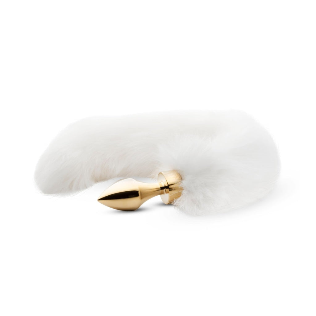 Easytoys Fetish Collection Fox Tail Plug Anus Pin with Tail 7 cm - White / Gold 1