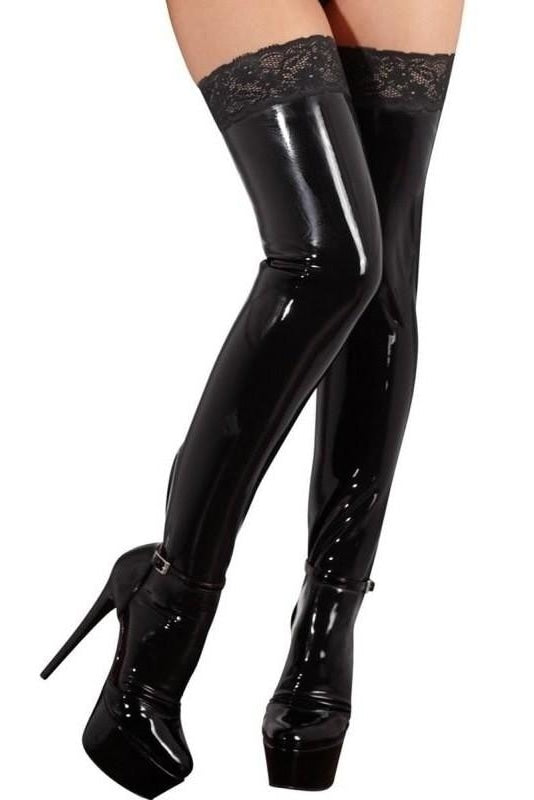 Latex Stockings Lace - S / Musta