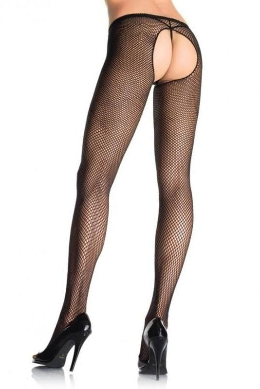 Leg Avenue Fishnet Tights with Open Branch - One Size / Black