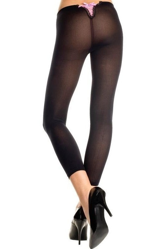 Leggings with Colorful Lacing - One Size / Black