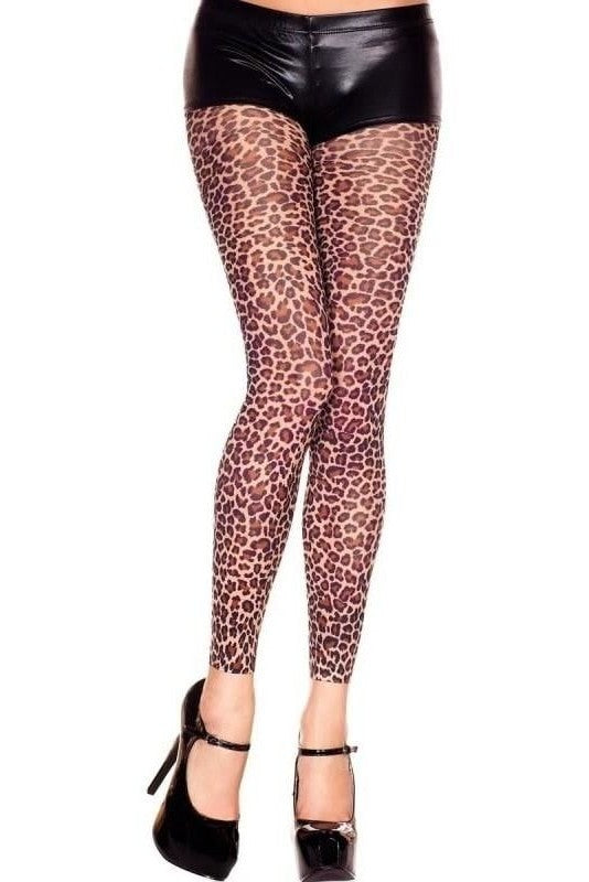 Leopard Opaque Leggings - One Size / Brown