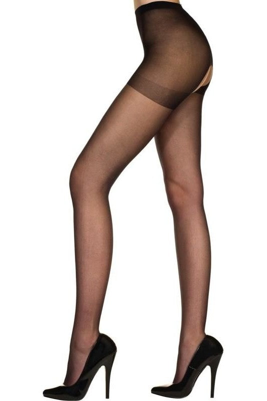 Music Legs Crotchless Tights - One Size / Black