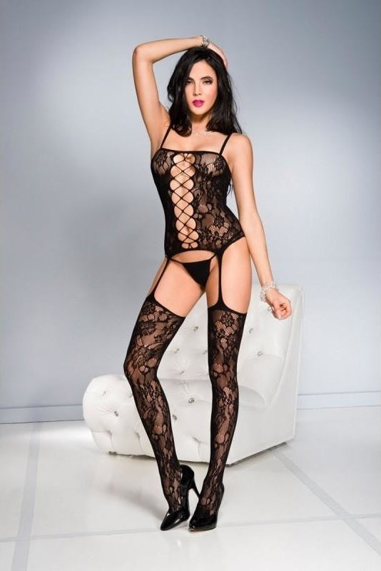 One Piece Garter Outfit - One Size / Black