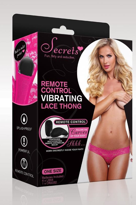 Secrets Vibrating Panties Pink Lace Strips With Vibrator One Size 3