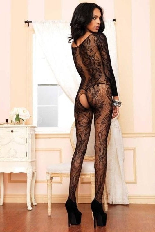 Black Seamless Long Sleeved Bodystocking - 2