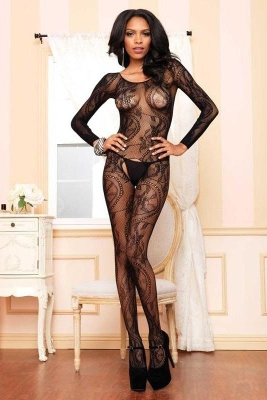 Black Seamless Long Sleeved Bodystocking - One Size / Musta