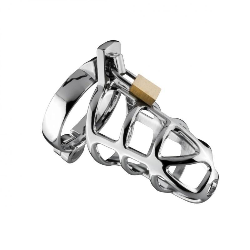 Chrome Chastity Belt with Buckle - Silver