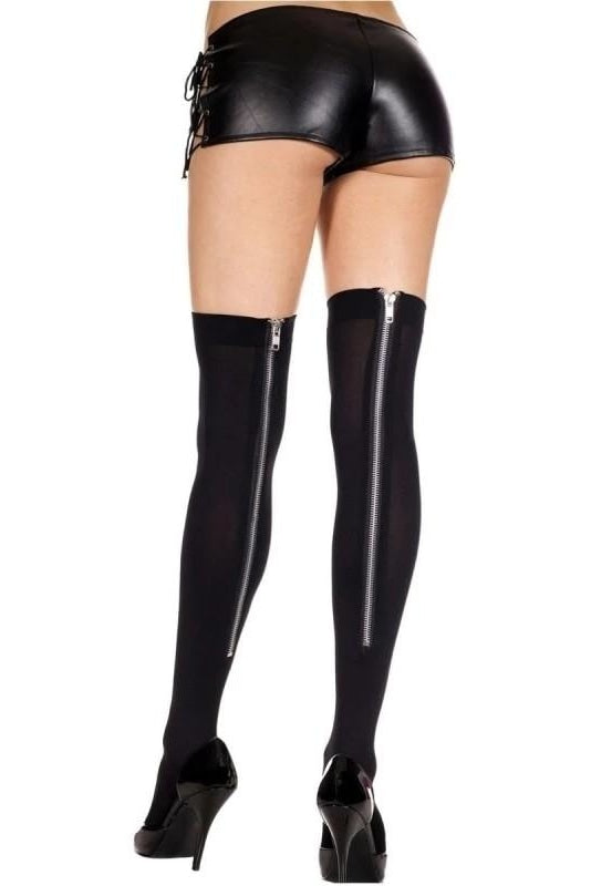 Stockings With Long Zipper - One Size / Black