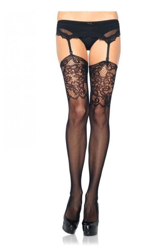 Fishnet Stockings With Lace Top - One Size / Musta