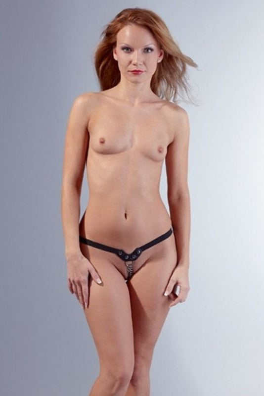 Faux Leather Thong with Chain - 2