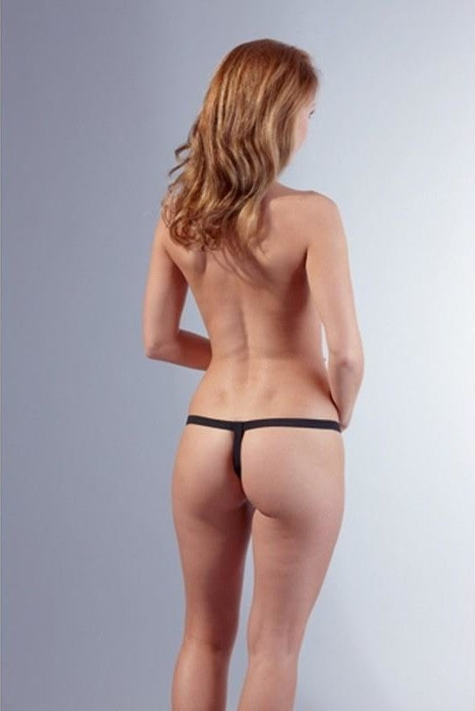 Faux Leather Thong with Chain - 3