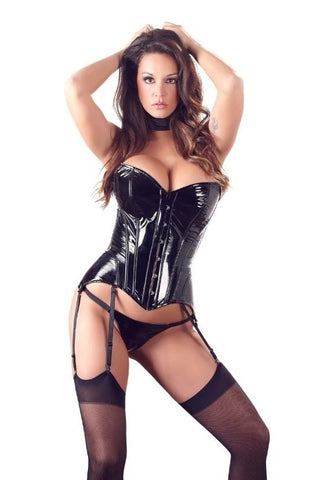 Strapless Vinyl Corset With Garters - 2