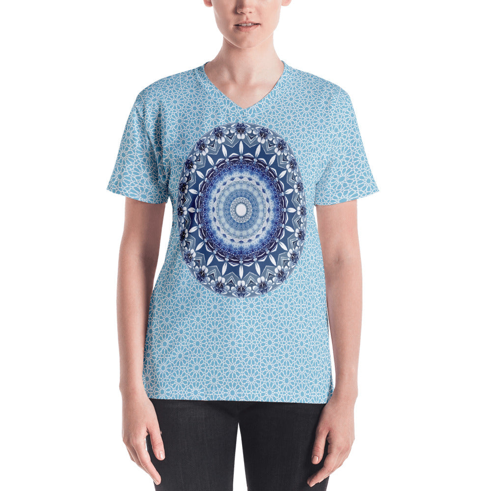 My Blue Mandala Women's V-neck