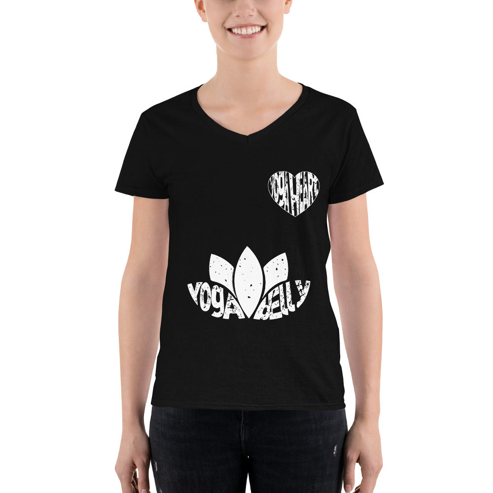 Yoga Belly Yoga Heart Women's V-Neck Shirt