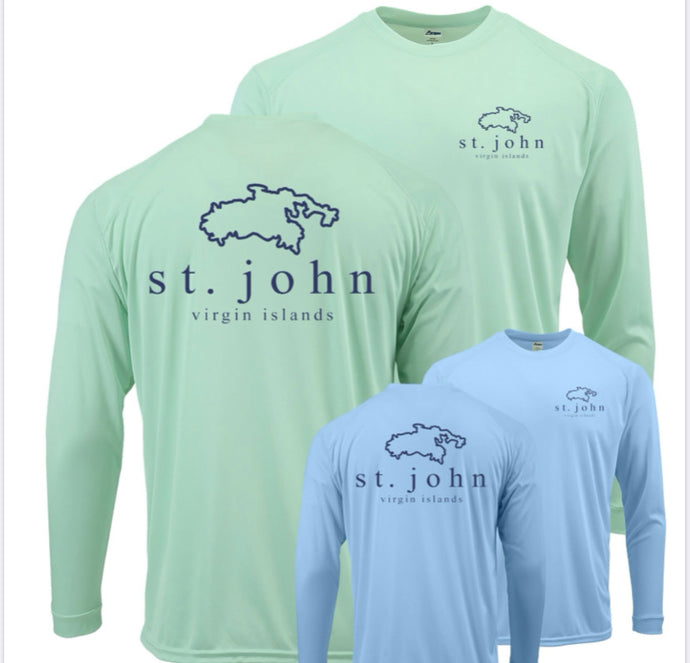 St. John Map Swim Shirt UPF 50+ (Blue)