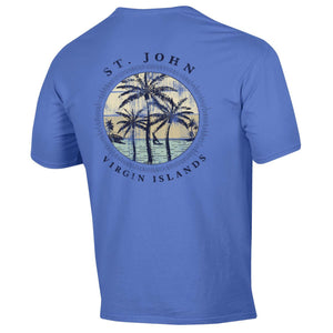 3 Palm Trees St. John Tee- Electric Blue
