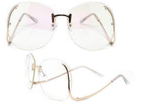 """Diane"" Oversize 65mm Hollywood Glam Rimless Fashion Eyewear"