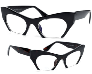 """Omi"" Sharp Rimless Bottom Modernized Cat-Eye Frame-High Fashion Designer Inspired Glasses & Sunnies"