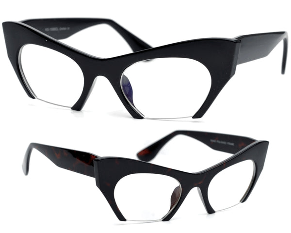 """Omi"" Sharp Rimless Bottom Modernized Cat-Eye Frame-High Fashion Designer Inspired Glasses"