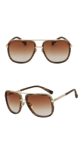 """James"" WOOD GRAIN SQUARE AVIATOR WITH METAL TRIM DETAIL"