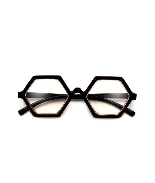 """HEX"" BOLD HEXAGONAL FASHION FORWARD CLEAR EYEWEAR"