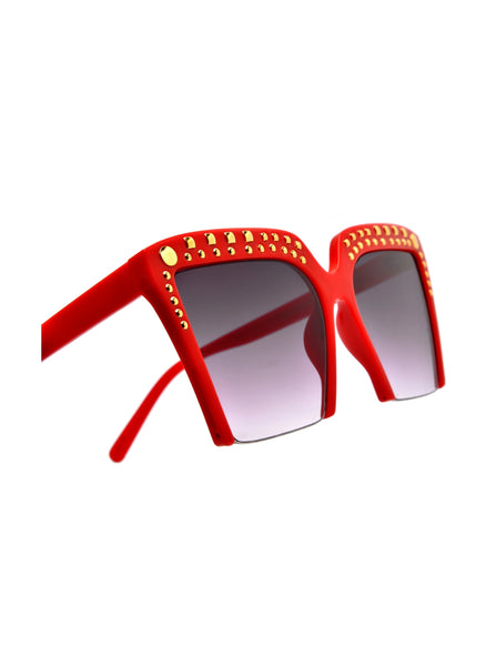 """Chance""  OVERSIZE SEMI-RIMLESS STUDDED SUNGLASSES"
