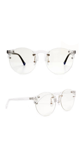 """Flex"" ROUND FLAT LENS STYLISH CLEAR EYE WEAR"