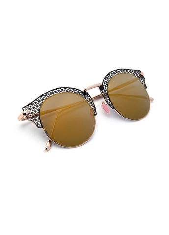 """Latice"" RETRO ROUND GEO LATTICED FULL METAL FESTIVAL SUNNIES"
