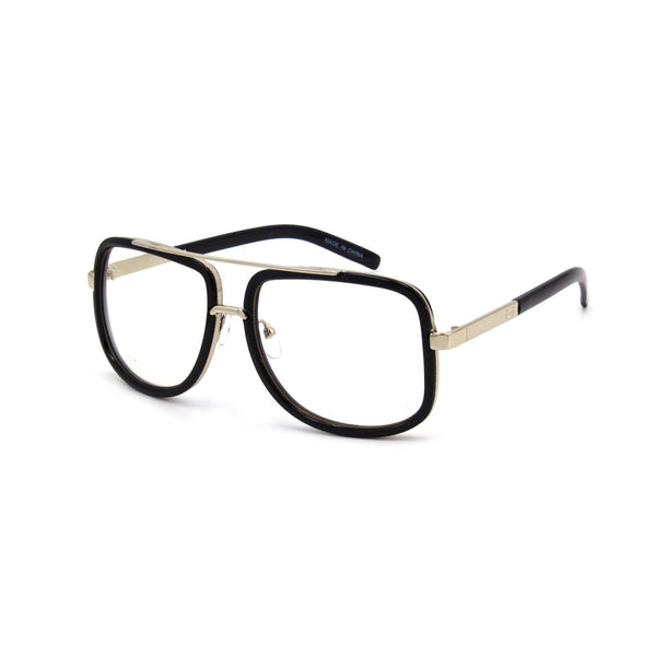 """Jones""  HIGH FASHION SQUARE CLEAR AVIATOR WITH METAL TRIM DETAIL"