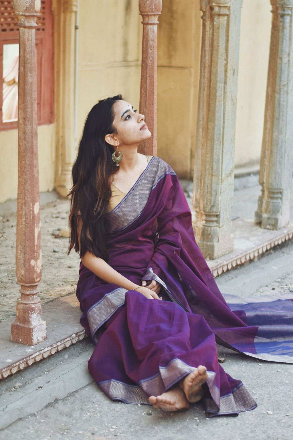 Seher - Dark Purple Maheshwari Saree - Kaisori